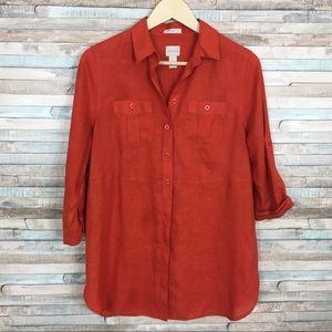 Chico's no iron linen pocket shirt